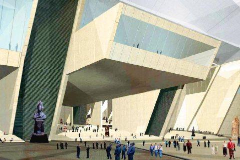 Il rendering del Grande museo Egizio a Giza dell'architetto Peng