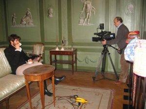 Castellani durante le riprese a Basilea con Burckhardt