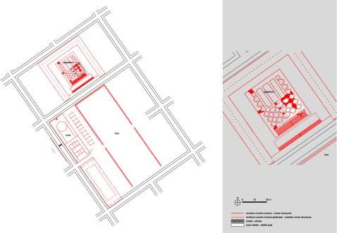 La pianta dell'area sacra del Capitolium romano di Verona con il criptoportico su tre lati