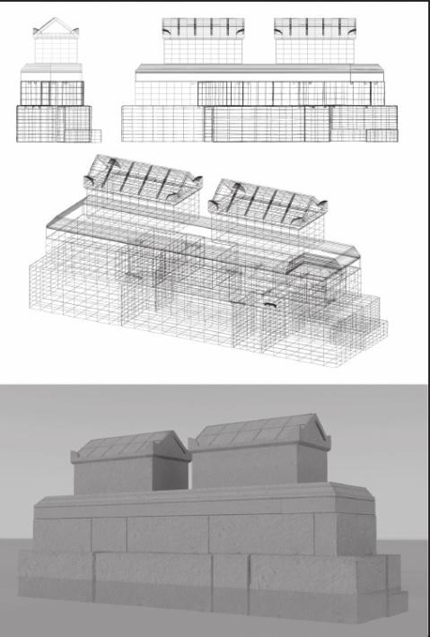 Una ricostruzione assonometrica e in 3D del monumento funerario di via San Pietro