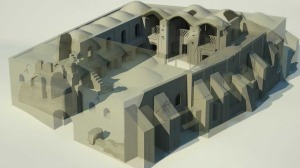 Un rendering del complesso del caravanserraglio d Bam