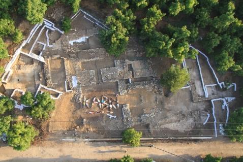 Una veduta aerea dello scavo del palazzo cananeo a Tel Kabri in israele