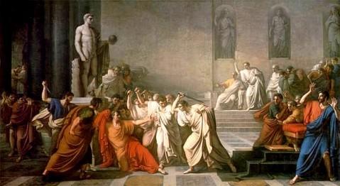 L'assassinio di Giulio Cesare alle Idi di Marzo del 44 a.C. nella curia di Pompeo