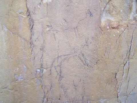 Una figura zoomorfa (cervide) sulla parete del riparo sotto roccia Morricone del Pesco