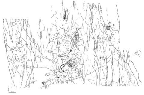 Rielaborazione grafica di Dario Sigari del complesso pitture-graffiti del settore A