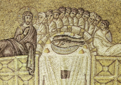 L'Ultima Cena in un mosaico di Sant'Apollinare Nuovo a Ravenna