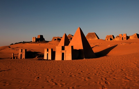 Le famose piramidi di Meroe dell'antica Nubia, oggi in Sudan