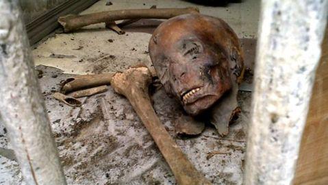 Una mummia danneggiata nel saccheggio del museo egizio  del Cairo nel 2011