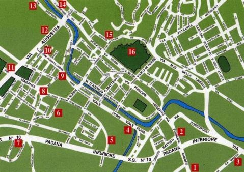 La mappa del parco archeologico di Este con il percorso e le tappe alla scoperta dei siti più importanti