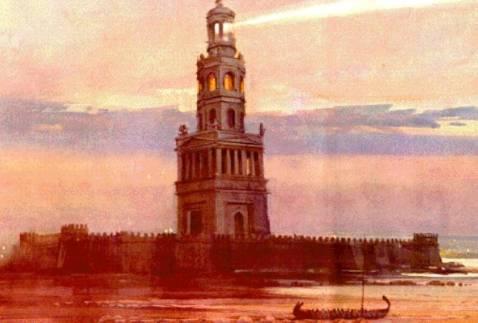 Una ricostruzione del Faro di Alessandria, una delle sette meraviglie del mondo antico