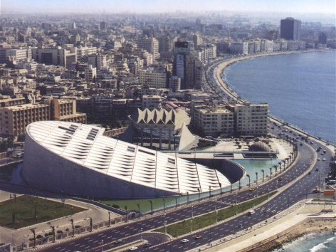 Una veduta aerea della moderna monumentale Biblioteca di Alessandria d'Egitto