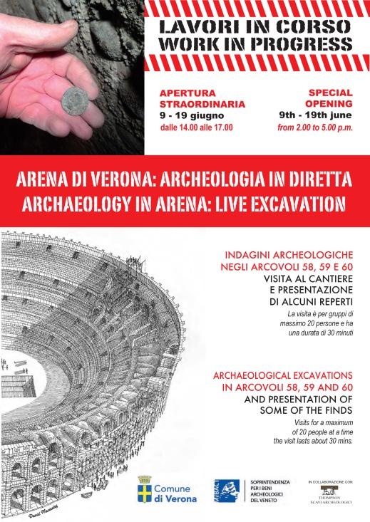 """""""Arena di Verona. Archeologia in diretta"""" è l'apertura straordinaria degli scavi dal 9 al 19 giugno"""