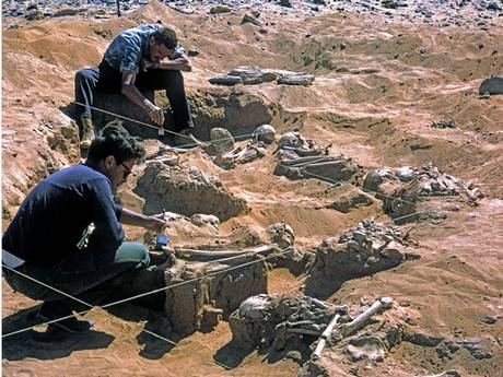 Archeologi al lavoro nel sito di Jebel Sahaba sulla riva orientale del Nilo nel Sudan settentrionale