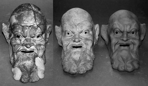 Alcuni mascheroni ritenuti dei falsi prodotti da Antonino Biondi
