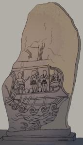 Una grafica della stele di Vel Kaikna con la nave etrusca