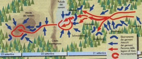 La mappa con i movimenti delle truppe nella battaglia della Selva di Teutoburgo