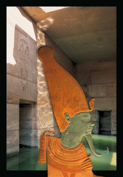 L'immagine del dio Osiride si staglia su uno scorcio dell'Osireion ad Abido: è il manifesto della mostra di Paolo Renier a Conegliano