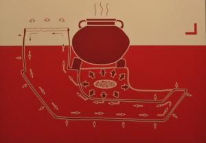 La ricostruzione grafica di un fornello mobile in piombo ritrovato su un relitto