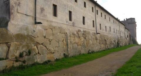 Un tratto delle mura poligonali di Pyrgi ripulito dai volontari