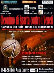 """Il manifesto della manifestazione """"Cleonimo di Sparta contro i Veneti"""""""