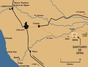 La mappa del Perù settentrionale con la posizione di Sipan