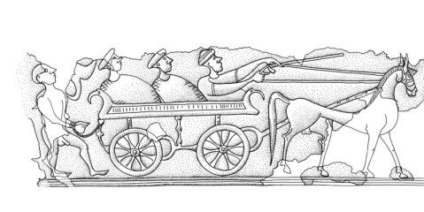 Il grafico del carro e dei cavalieri dalla situla di Montebelluna