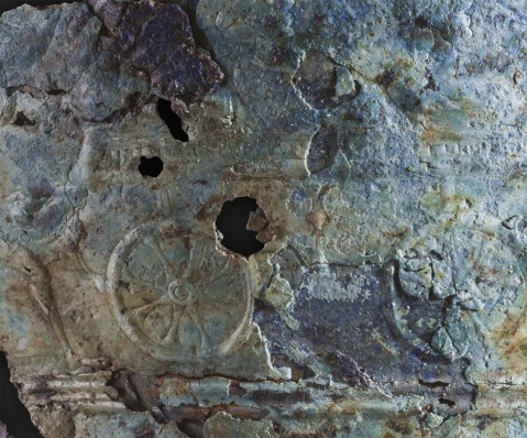 Un dettaglio delle raffigurazioni sulla situla in bronzo di Montebelluna