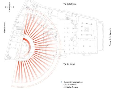 La planimetria con i muri radiali del teatro romano scavato dalla Cooperativa Archeologia di Firenze
