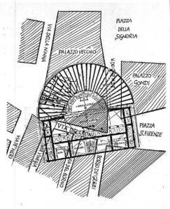 La planimetria del teatro romano di Florentia al di sotto di Palazzo Vecchio e piazza della Signoria