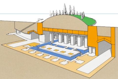 Una ricostruzione dell'Osireion di Abido, la cosiddetta tomba di Osiride: un unicum nell'architettura dell'Antico Egitto