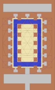La pianta dell'Osireion di Abido con i riscontri geometrici scoperti da Rubino