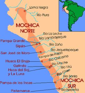 L'area di diffusione della cultura Moche con i principali siti peruviani