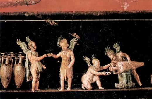 Scene con amorini impegnati nella mescita del vino in un affresco di Pompei
