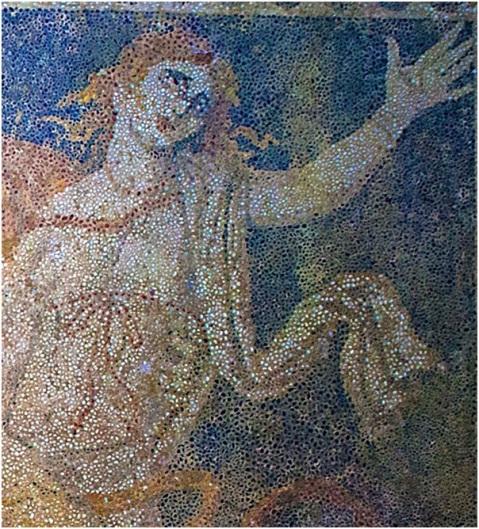 La donna dai capelli rosso fuoco: dettaglio del pavimento musivo col ratto di Persefone