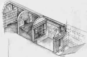Visione assonometrica delle tre stanze della tomba macedone