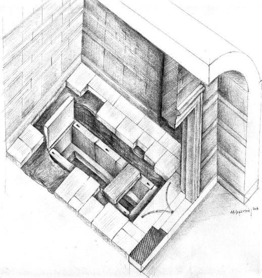 La disposizione degli spazi nella terza stanza dove son stati rinvenuti i resti ossei ora allo studio