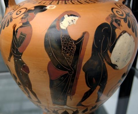 Scena di Nekyia: particolare di un vaso greco conservato allo  Staatliche Antikensammlungen di Monaco