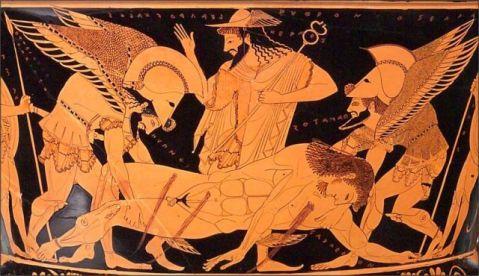 La scena, tratta dall'Iliade, narra della morte di Sarpedonte, figlio di Zeus e di Laodamia, alleato dei Troiani nella guerra contro gli Achei