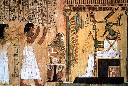 Il defunto al cospetto di Osiride: illustrazione del Libro dei Morti su un papiro all'Egizio di Torino