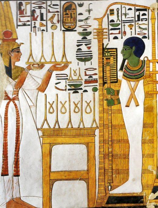 La regina Nefertari al cospetto di Osiride: affresco della tomba di Nefertari