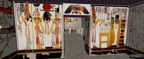L'interno, completamente affrescato, della tomba di Nefertari, la QV66