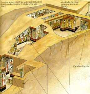 Una visione assonometrica della tomba di Nefertari scavata nella roccia