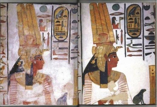 Il ritratto di Nefertari prima e dopo i restauri curati da un'equipe di esperti italiani diretta da Laura e Paolo Mora