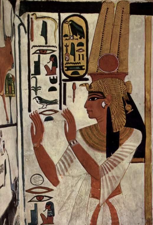La regina Nefertari, la Grande Sposa di Ramese II, ritratta negli affreschi della sua tomba nella Valle delle Regine