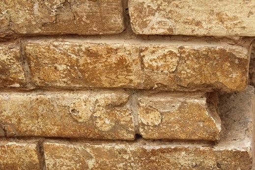 La fascia di mattoni invetriati ancora in situ a Tol-e Ajori con le rosette dipinte