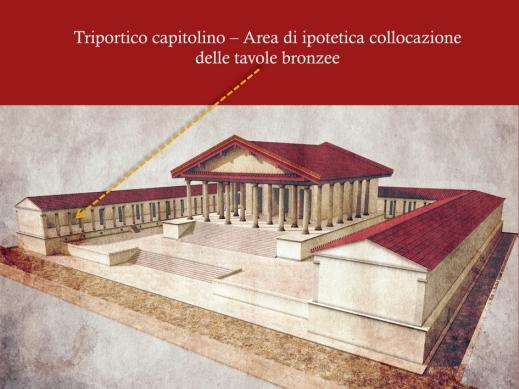 La ricostruzione del Capitolium di Verona e del triportico, dove erano collocate le tavole catastali