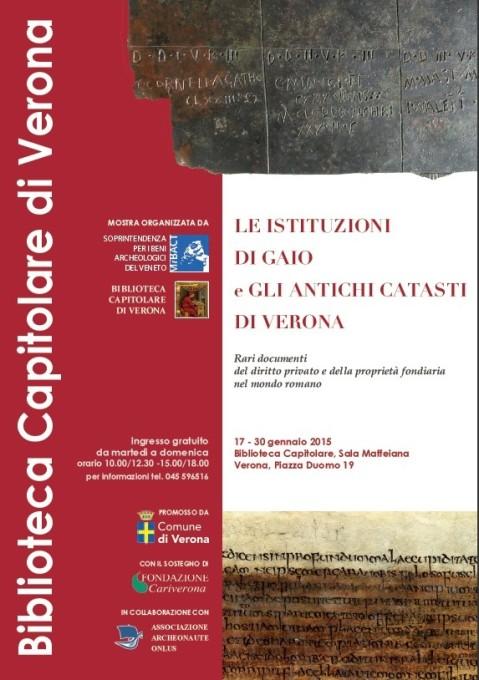 """Il manifesto della mostra """"Le istituzioni di Gaio e gli antichi catasti di Verona"""" aperta in Biblioteca Capitolare di Verona"""