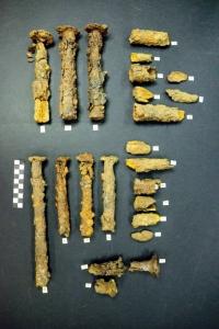 Frammenti della struttura in bronzo del calesse della principessa della tomba A