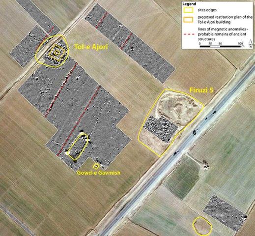 IImmagine zenitale dell'area di ricerca con evidenziati i siti di Tol-e Ajori e di Firuzi5