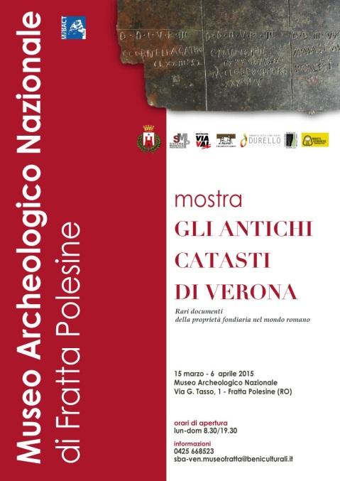 """""""Gli antichi catasti di Verona"""": locandina della mostra al museo archeologico nazionale di Fratta Polesine"""